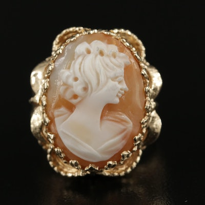 14K Gold Carved Helmet Shell Cameo Ring