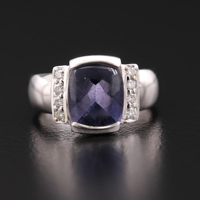 18K Gold Iolite and Diamond Ring