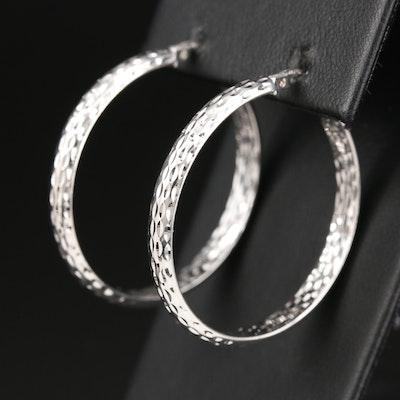 Sterling Silver Patterned Hoop Earrings