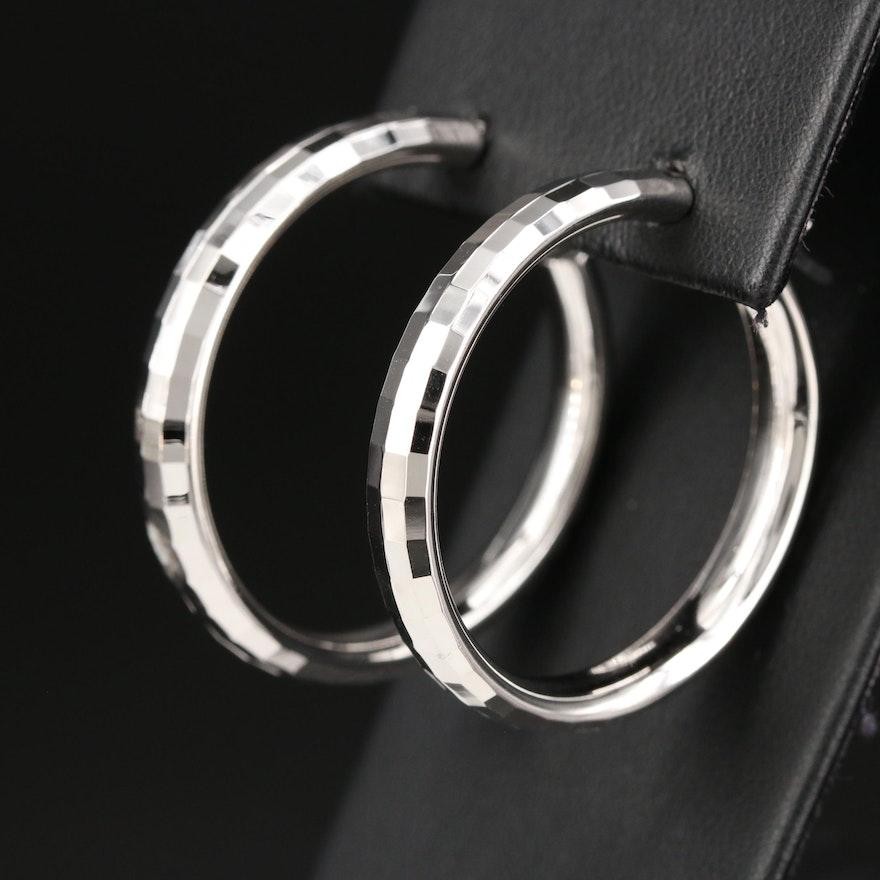 Sterling Silver Faceted Hoop Earrings