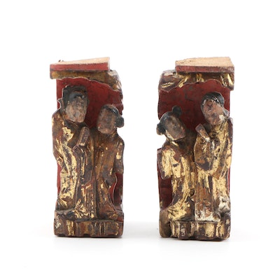 Chinese Pair of Carved Giltwood Female Figures