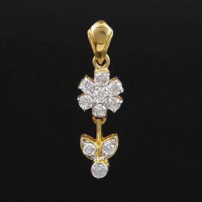 14K Gold Diamond Flower Pendant