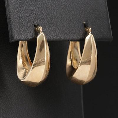 14K Gold Tapered Hoop Earrings