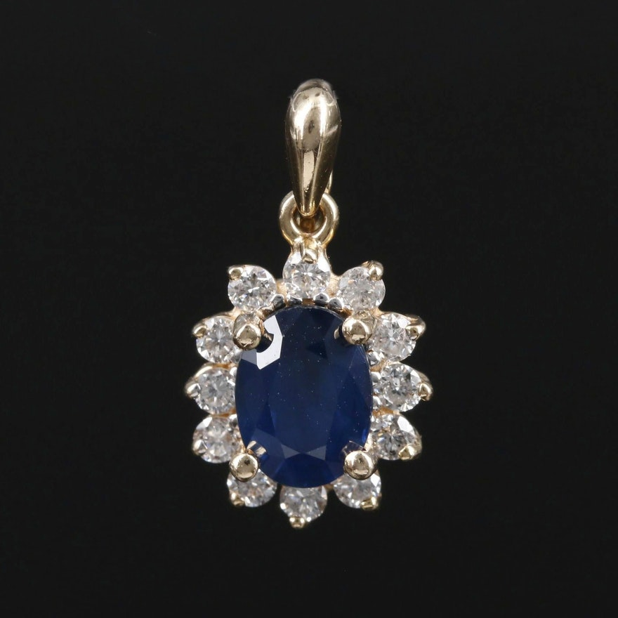 14K Gold 1.00 CT Sapphire and Diamond Pendant
