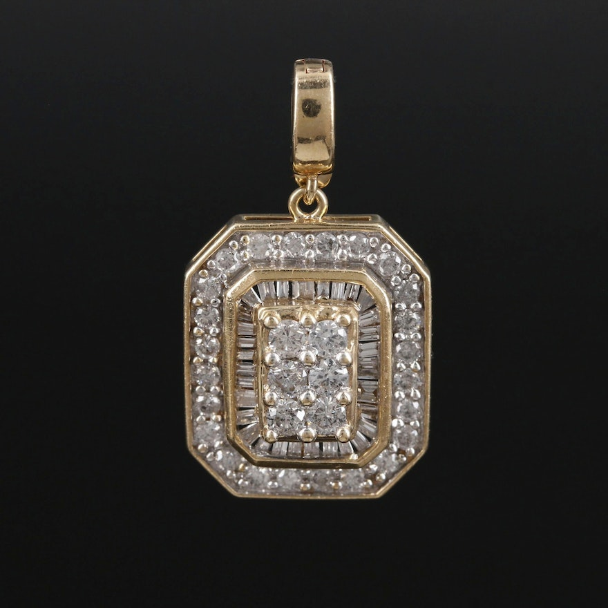 14K Gold 1.09 CTW Diamond Enhancer Pendant