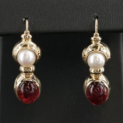 14K Gold Tourmaline and Pearl Drop Earrings