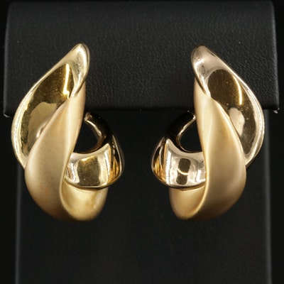 18K Gold Twisted J-Hoop Earrings with Matte Finish Accents
