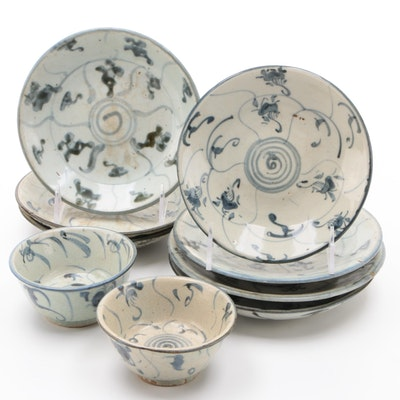East Asian Hand-Painted Ceramic Plates and Bowls