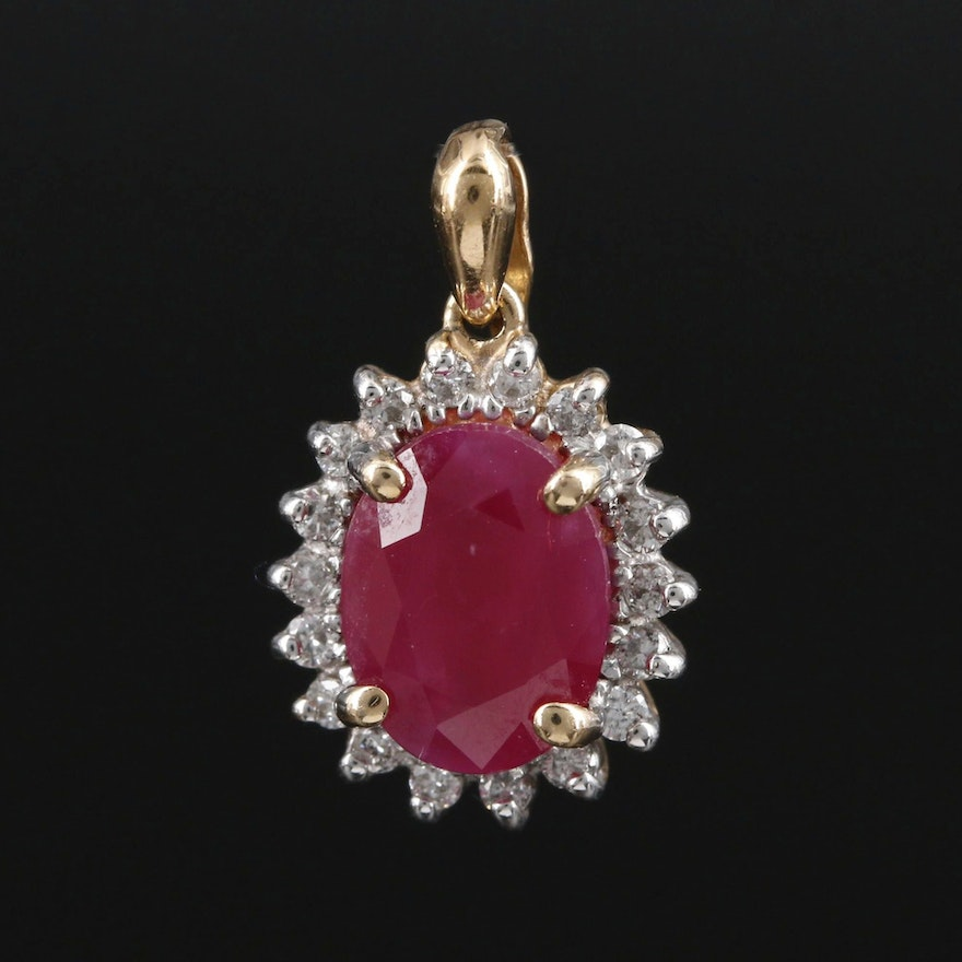 14K Yellow Gold 2.08 CT Ruby and Diamond Halo Pendant