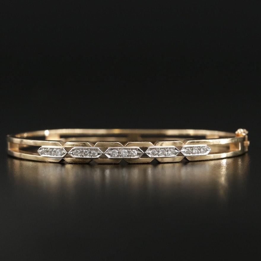 14K Gold Diamond Oval Hinged Bangle Bracelet