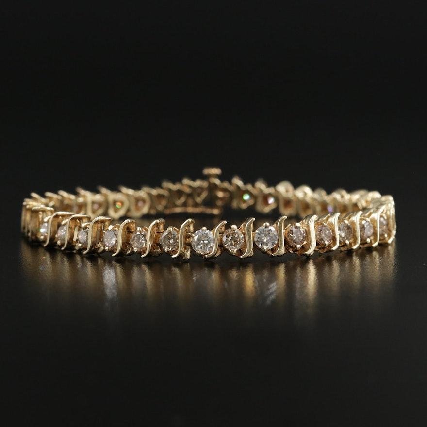 14K Gold 4.98 CTW Diamond Bracelet