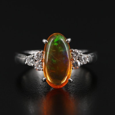 Platinum Opal and Diamond Ring