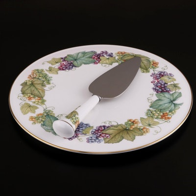 "Royal Worcester ""Vine Harvest"" Bone China Cake Plate and Server"