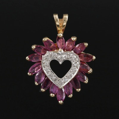 10K Gold Ruby and Diamond Heart Pendant