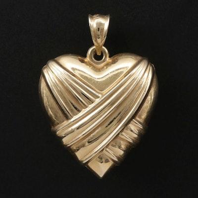 14K Draped Puff Heart Pendant