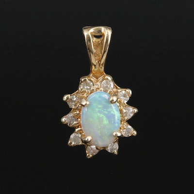 14K Gold Opal and Diamond Pendant