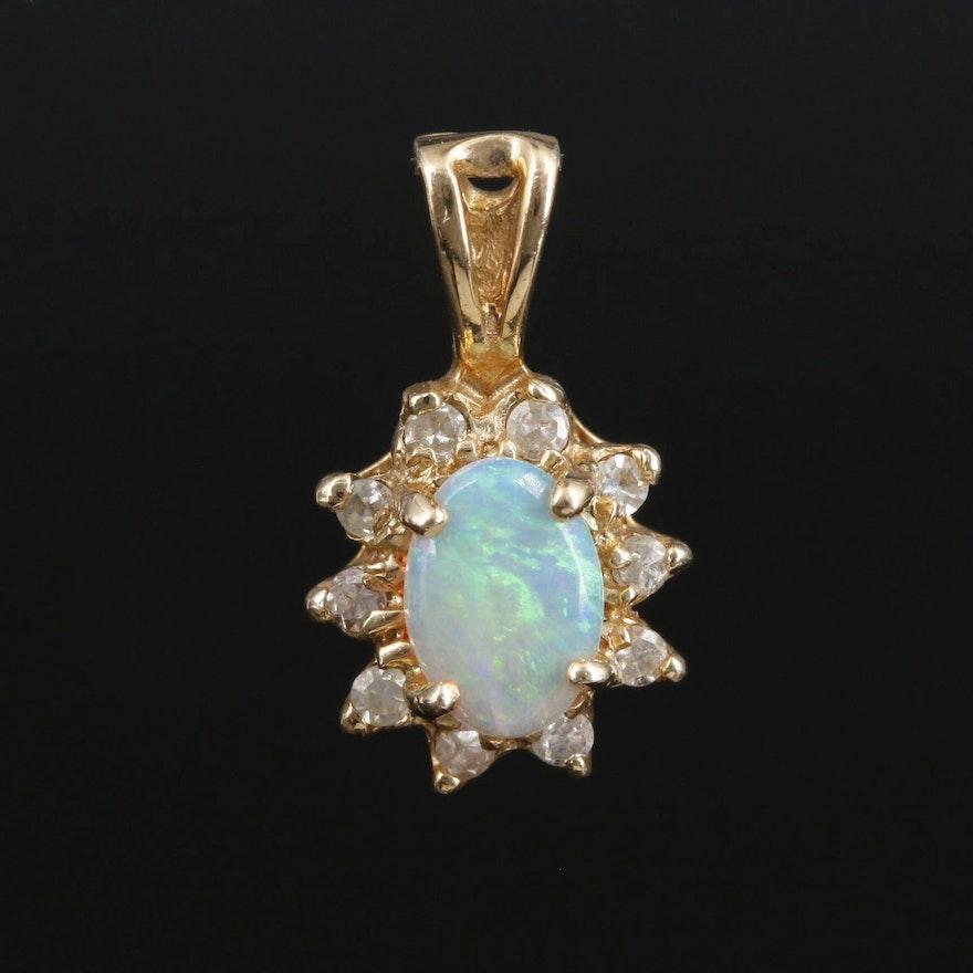 14K Gold Opal and Diamond Pendant