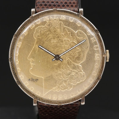 LeJour 1921 Silver Dollar Stem Wind Wristwatch
