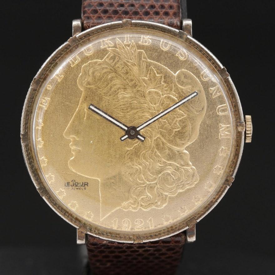 LeJour 1921 Silver Dollar Stem Wind Wristwatch