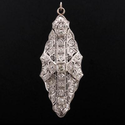 Edwardian Platinum 1.54 CTW Diamond Converter Brooch