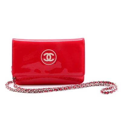 Chanel Timeless Wallet on Chain in Pink Patent Leather