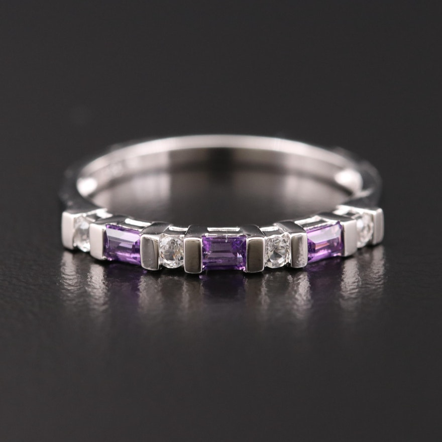 Sterling Silver Topaz and Amethyst Band