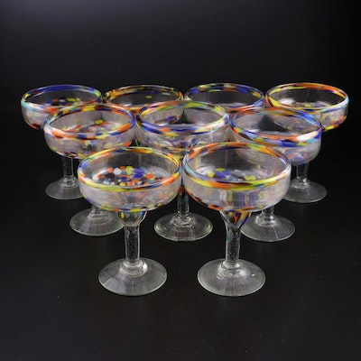 Hand Blown Confetti Art Glass Margarita Glasses