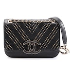 Chanel Mini Chevron Chain Quilted Black Calfskin Leather Shoulder Bag