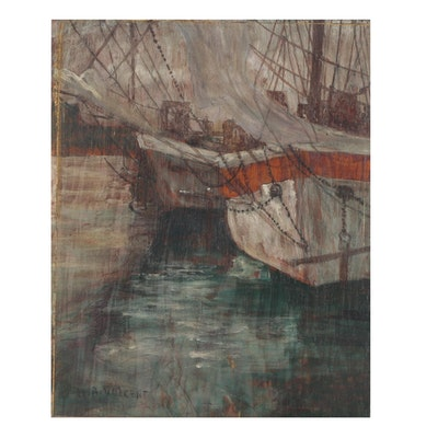 Harry Aiken Vincent Oil Painting of Harbor Scene, Early 20th Century