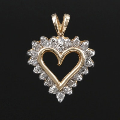 10K Gold Diamond Heart Pendant