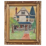 Mary Hackett Naive Landscape with Victorian House Oil Painting, 1968