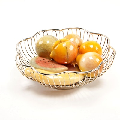 Godinger Silver Art Co. Fruit Bowl with Stone Fruit Collection