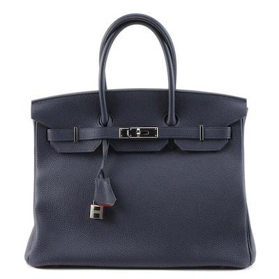 Hermès Birkin 35 Satchel in Blue de Prusse Togo Leather