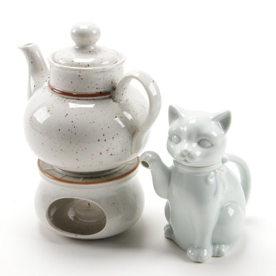 Takahashi Cat Form Teapot with Solar Stoneware Teapot and Warmer