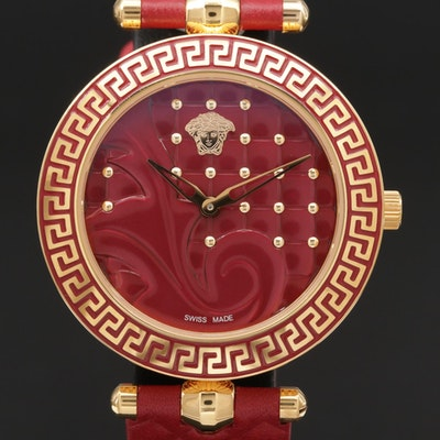 Versace Vanitas Red Dial Stainless Steel and Enamel Quartz Wristwatch