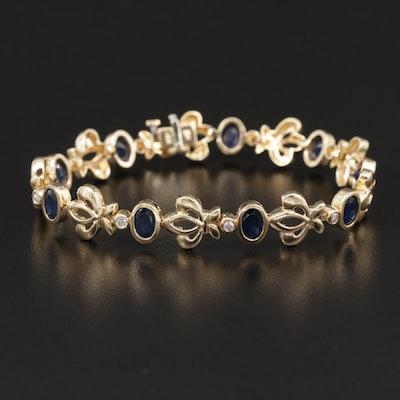 14K Sapphire and Diamond Fleur-de-lis Bracelet