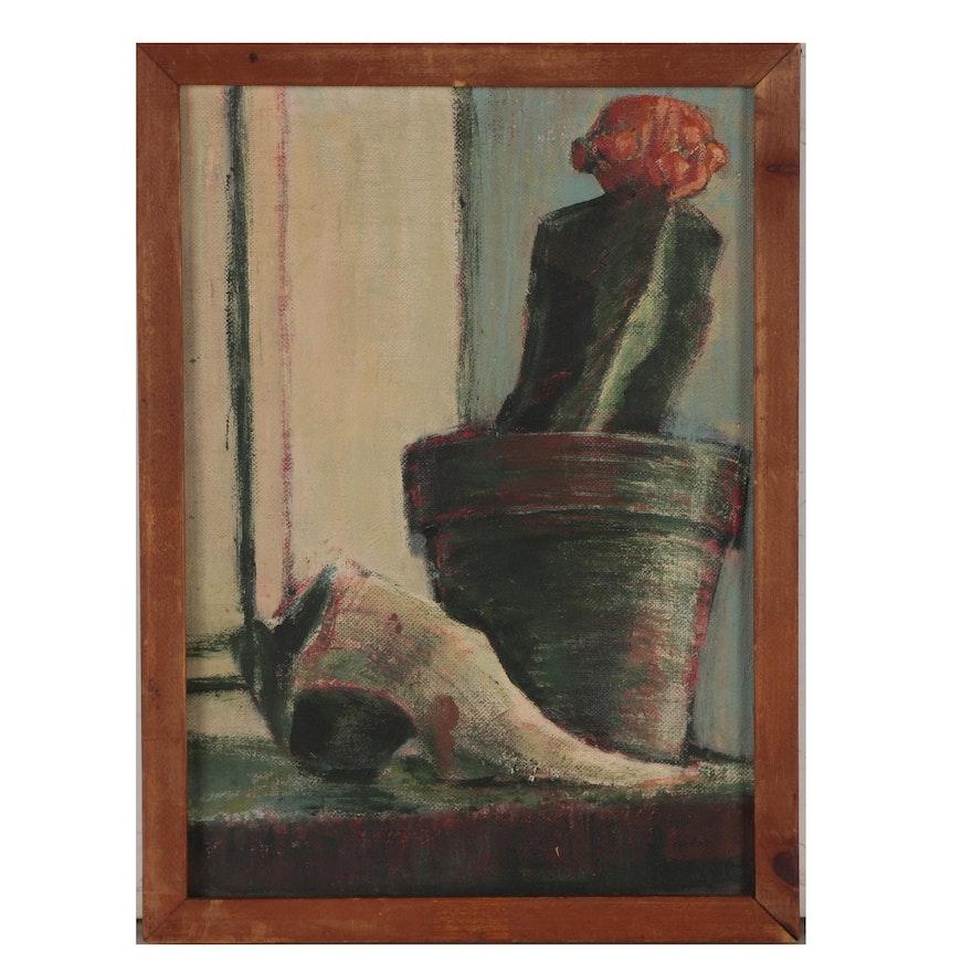 """Donna Malkin Still Life Oil Painting """"Moon Cactus"""", 1984"""