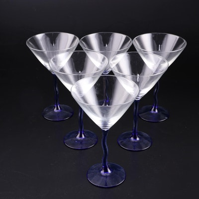 Blue Wavy Stemmed Martini Glass Set for Six