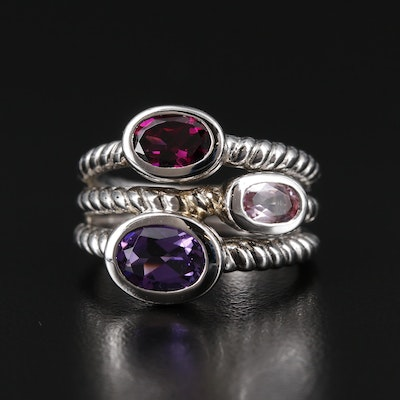 Sterling Silver Rhodolite Garnet, Amethyst and Topaz Ring