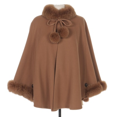 Cashmere and Wool Blend Cape with Rabbit Fur Trim and Pom-Poms