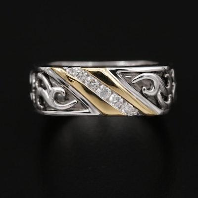 REVV 14K Gold Diamond Ring with Open Scrollwork Design