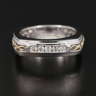 REVV 14K Gold Diamond Ring with Twisted Yellow Gold Accents