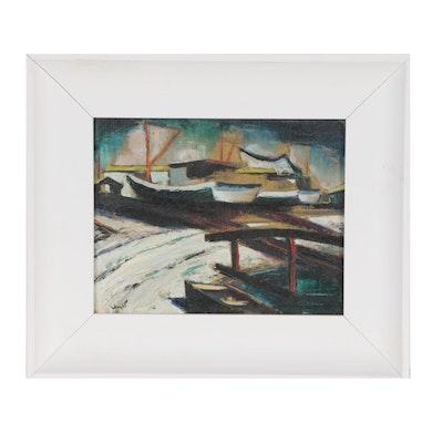 Modernist Oil Painting of Harbor Scene