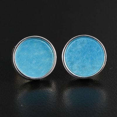 Sterling Silver Quartz Button Earrings