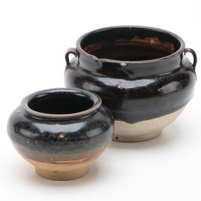 Chinese Brown Glaze Ceramic Jars