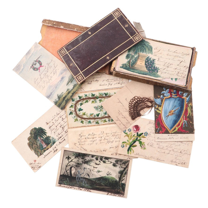 Poetry on Loose Leaf featuring Hair Art and Other Embellishments, circa 1840