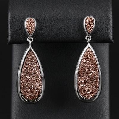 Sterling Silver Druzy Dangle Earrings