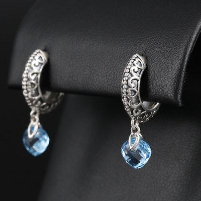 Sterling Silver Topaz Hoop Earrings