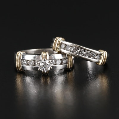 14K White & Yellow Gold Diamond Ring and Band Set
