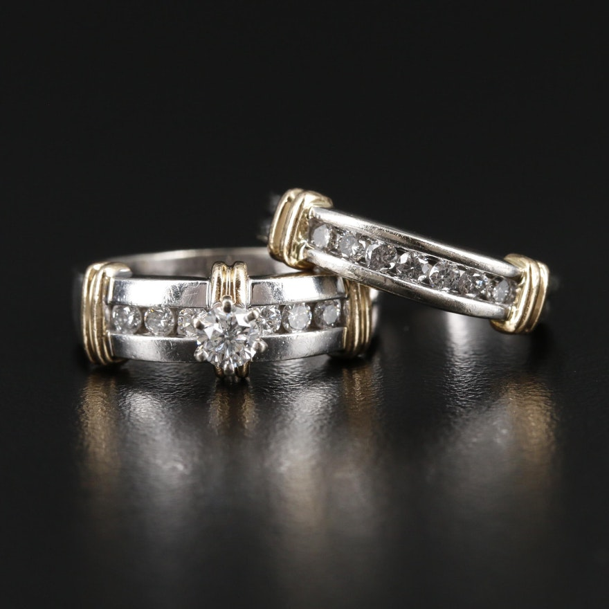 14K White & Yellow Gold Diamond Ring and Band Set
